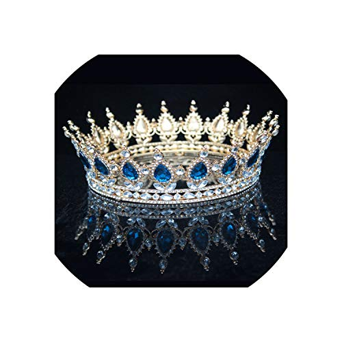 Bride Tiara Crown For Women Headdress Prom Bridal Wedding Tiaras And Crowns,Blue White Zinc Plated