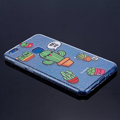 Funda Huawei P10 lite,SainCat Moda Alta Calidad suave de TPU Silicona Suave Funda Carcasa Parachoques Diseño pintado Patrón para Funda TPU Silicona Flexible Ultra Delgado Ligero Goma Case Cover Caja S Cactus