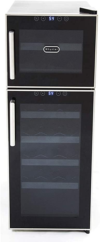 Whynter WC-241DS 24 Bottle Dual Zone Thermoelectric Wine Coolers Black with Stainless Steel Trim