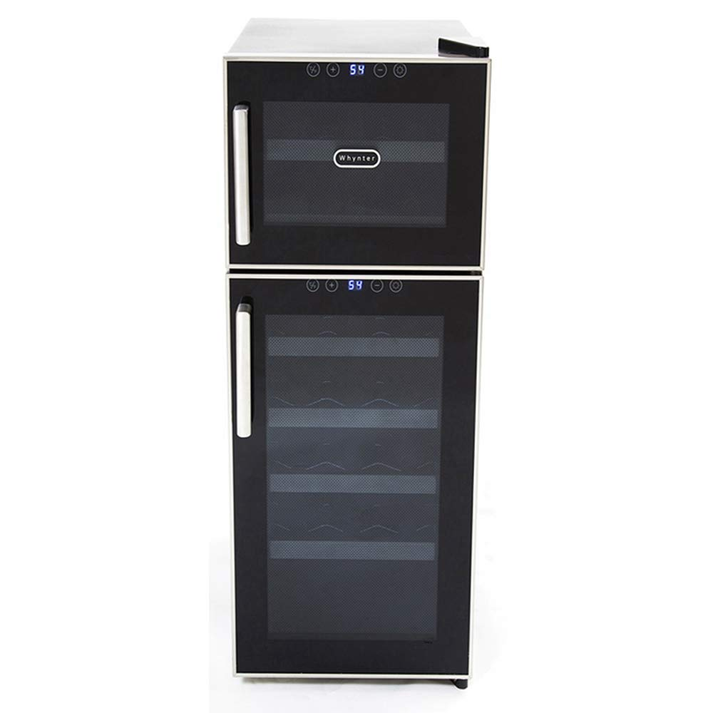 Whynter WC-212BD 21 Bottle Dual Temperature Zone Touch Control Freestanding Wine Coolers, One Size, Black