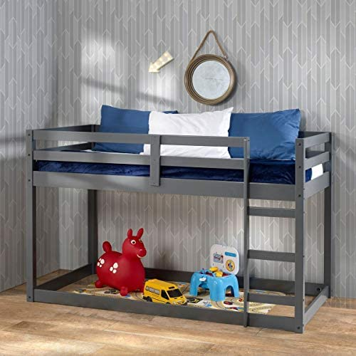 Low Bunk Beds,Twin Loft Bed Solid Wood Twin Over Twin Bunk Bed
