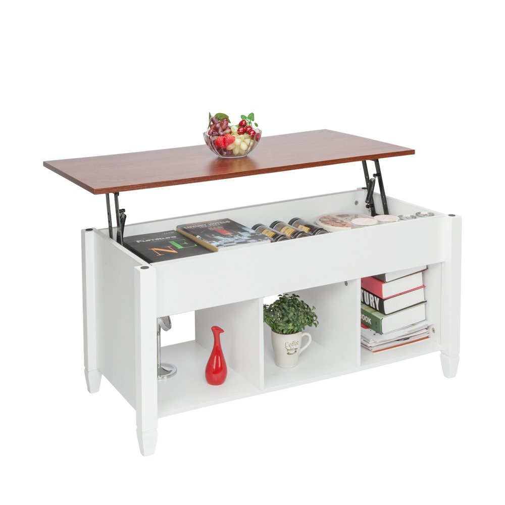 HomVent Lift-up Top Coffee Table,Wood & Metal End Table,Hidden Storage and Lift Tabletop Dining Table,Computer Table,Side Table,Living Room Furniture Tea Table E1 Board & Iron Modern Furniture,White by HomVent