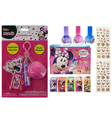 Mozlly Value Pack - Disney Junior Minnie Mouse Bowtique Cosmetic Fluffy Keychain with Hand Sanitizer and Lip Balm and Cosmetic Nail Polish and Stickers Set - Childrens Make Up (2 Items)