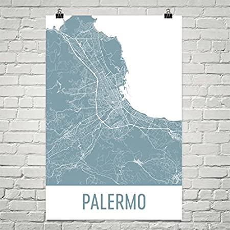 Palermo Map Palermo Art Palermo Print Palermo Italy Poster