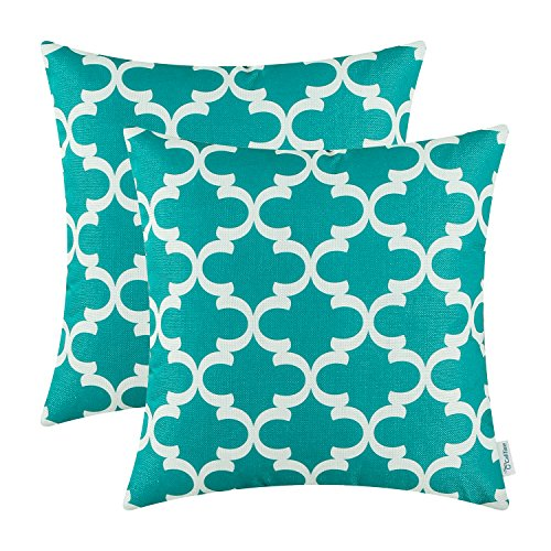 Geometric Pillow Print (CaliTime Pack of 2 Soft Canvas Throw Pillow Covers Cases for Couch Sofa Home Decor Modern Quatrefoil Accent Geometric 18 X 18 Inches Teal)