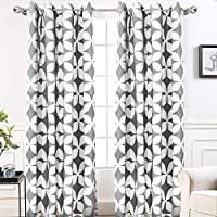 DriftAway Amelia Thermal Blackout/Room Darkening Grommet Unlined Window Curtains,Retro Geo Pattern, Round Circle Star Print, Set of Two Panels, Each (52