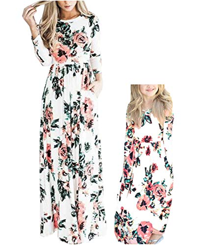 Qin.Orianna Mommy and Me Maxi Dresses,3 4 Sleeve Bohemia Floral Matching Outfits with Pocket (Child 5-6T, White-Pink)