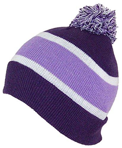 GMI Womens/Ladies Striped Cuffed Knit Beanie W/Pom Pom (One Size) - Purple/Lavender/White