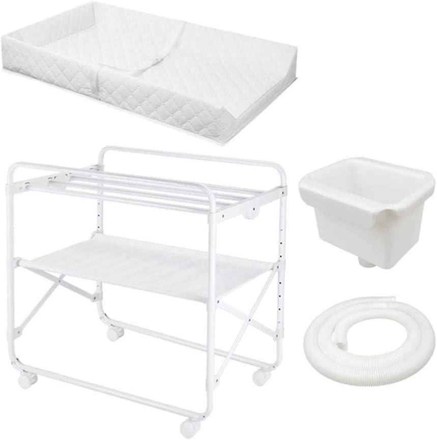 赤ちゃんおむつ交換台おむつ交換台ドレッサー、下側収納バスケット、折りたたみ式、白 (Color : With drain set)