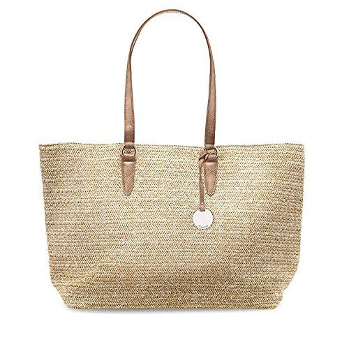 TAMARIS NEVE Damen Handtasche, Shopping Bag, Shopper, 54x33x16 cm (B x H x T), 3 Farben: coral comb., yellow comb. oder brown comb., Farbe:braun comb