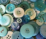 """Fancy & Decorative {Assorted Sizes w/ 1, 2, 4 Holes} 50 Pack of """"Flat & Shank"""" Sewing & Craft Buttons Made of Acrylic Resin w/ Classic Creative Sea Glass Oceanic Beach Design {Blue, Purple & White}"""
