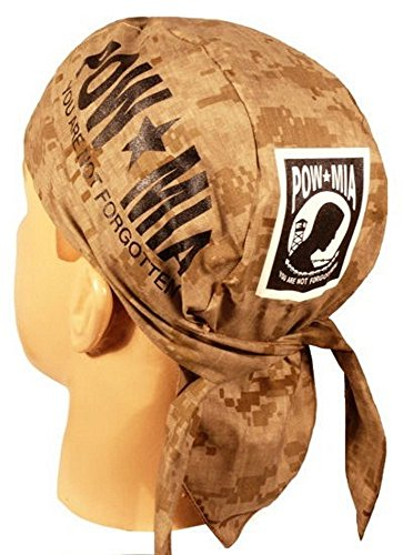 Sparkling Earth Skull Cap Biker Caps Headwraps Doo Rags - POW/MIA on Digital Desert Camo (Bandana Desert Digital)