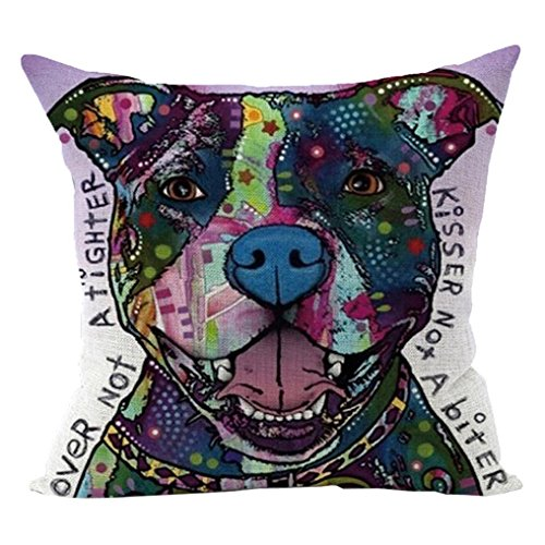 Sunward 2017 Dog Style Cotton Linen Canvas Decorative Square Throw Pillow Cover 18 x 18 (T)
