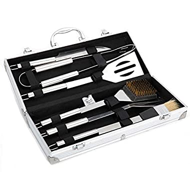 COOKO BBQ Tool Set,6-Piece Stainless Steel BBQ Tool Set with Aluminum Case,Includes Spatula, Grill Tongs,basting Brush,cleaning Brush,fork and Knife