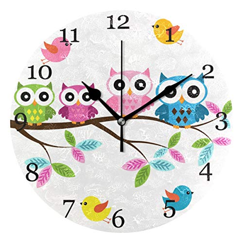 KUWT Colorful Bird Owl Tree Wall Clock Silent Non-Ticking 9.5 Inch Round Clock Acrylic Art Painting Home Office School Decor