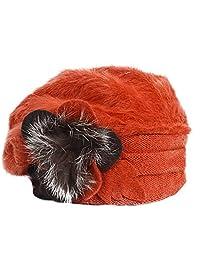 Retro Women Floral Trimmed Wool Blend Cloche Winter Hat (Angola-Rust)