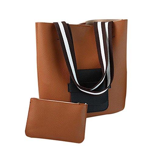 (Adealink 2 Pcs/Set Women Composite Bag PU Leather Handbag Fashion Ladies Striped Handle Shoulder Crossbody Bags)