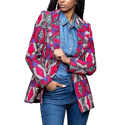 ZFFde Invierno Chaqueta estampada africana para mujer Gire la chaqueta de mangas largas con cuello Dwon (Color : Purple Red, tamaño : S)