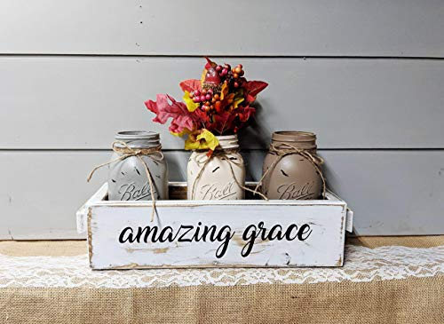 Painted Mason Jars Centerpiece Set of 3 Easter Farmhouse Style Inspirational Rustic Wood ()