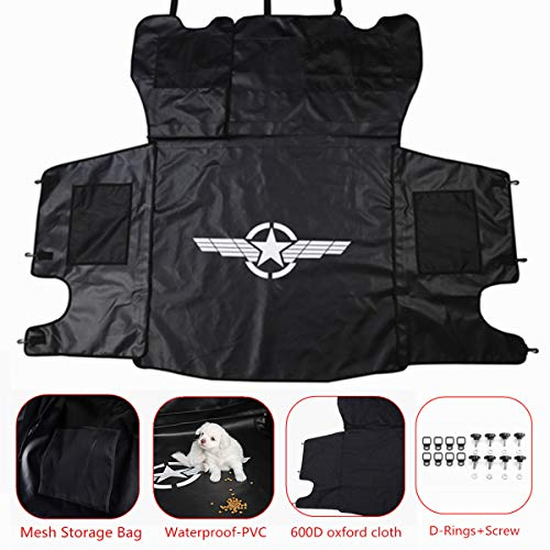 YOCTM Cargo Liner Rear Bench Seat Cover Waterproof Pet Dog Cat Mat Hammock Back Luggage Storage Case + Quick Removal Fastener Thumb Screw & Tie-Down D-Rings Kits For Jeep JK Wrangler 2007-2017
