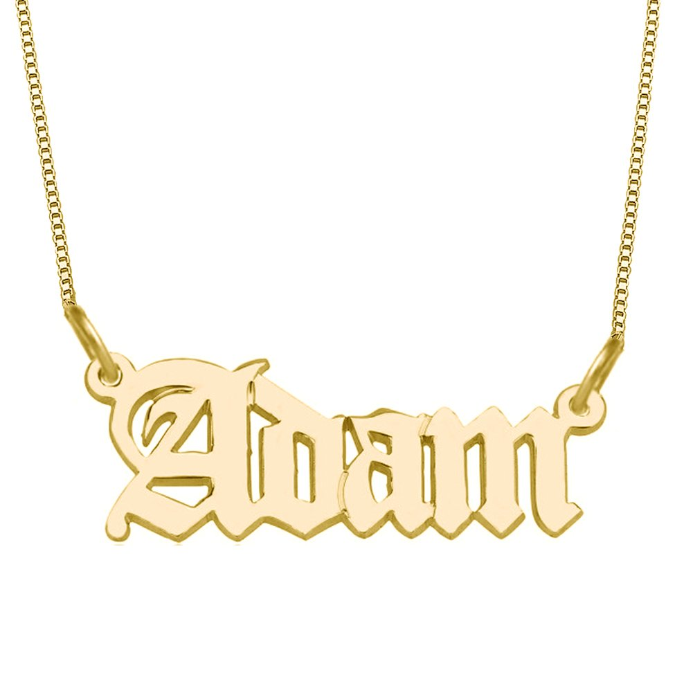 Ouslier 925 Sterling Silver Personalized Name Necklace with Old English Style Custom Made with Any Names (Golden)