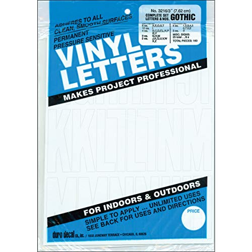 Permanent Adhesive Vinyl Letters & Numbers 3in 160/PkgWhite -