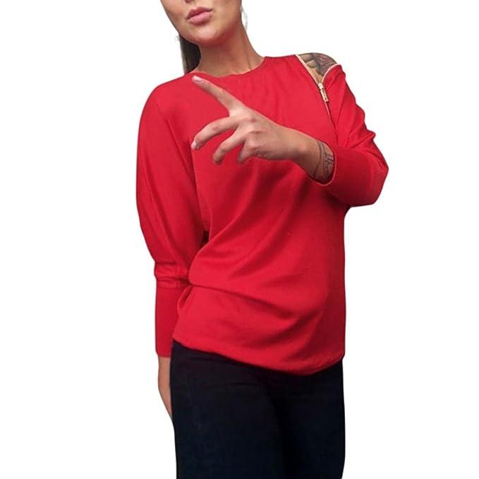 Yannerr mujer puños elásticos cremallera en hombro casual suelta manga larga básica inferior camiseta tops suéter