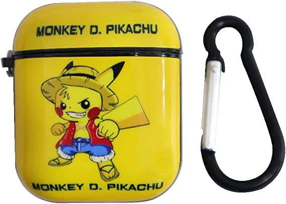 Monkey D Luffy Pikachu Airpod Green Case for Apple Airpods 1/&2,Funny Cartoon Character Soft Silicone Catalyst Cover,Fun Cool Keychain Design Skin,Fashion Cases for Girls Kids Boys Air