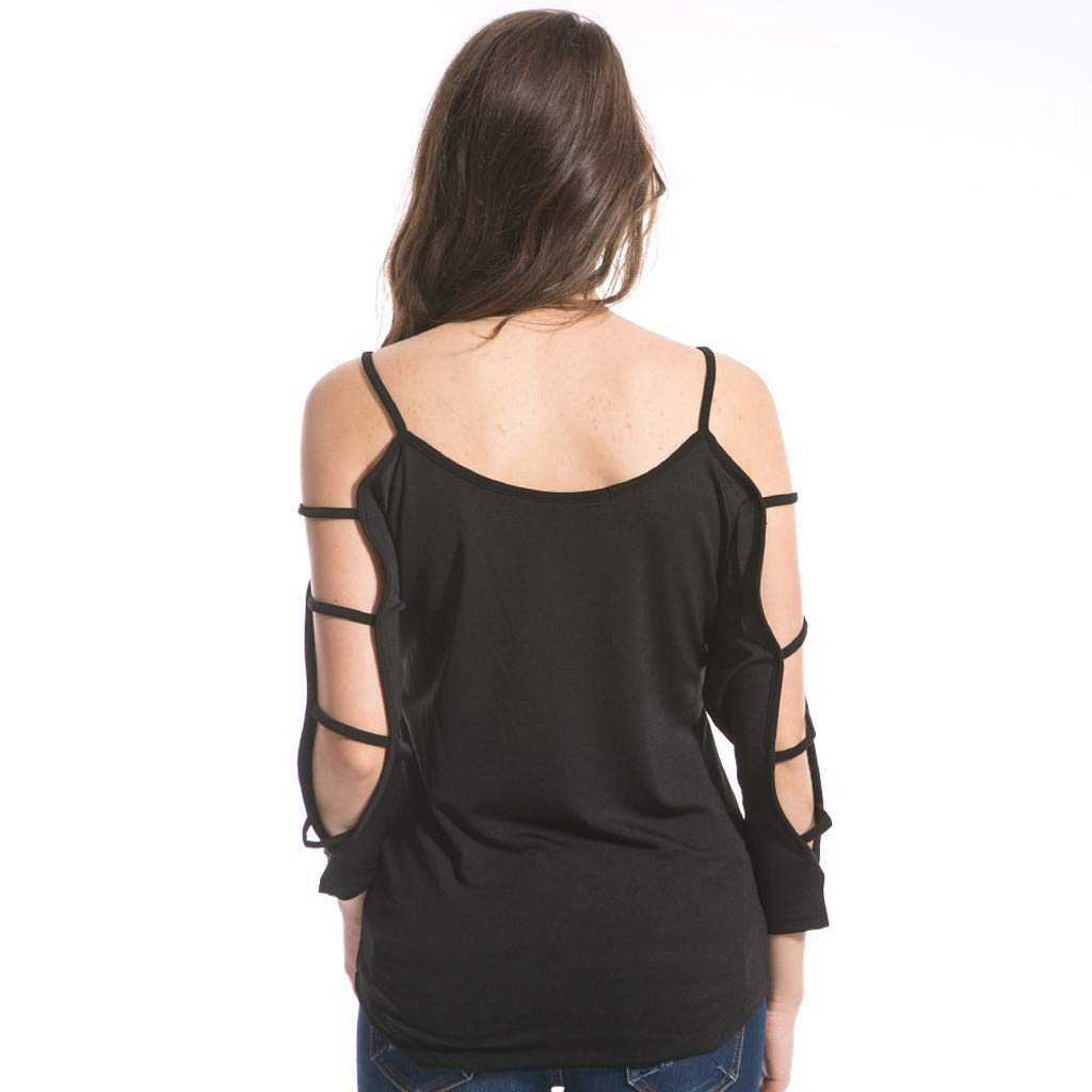 Onefa Long Sleeve Openwork T-Shirt, Ladies Sexy Women Long Sleeve Hollow T-Shirts Loose Casual Blouse Fashion Shirts by Onefa (Image #6)