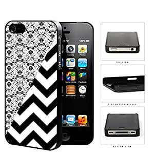 Black & White Floral Damask Pattern with Black/White Chevron Pattern iPhone 4 4s Hard Snap on Plastic Cell Phone Case Cover