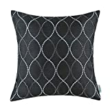 "CaliTime Cushion Cover Pillowcase Shell Solid Faux Silk Black Waves Embroidery 18"" X 18"""