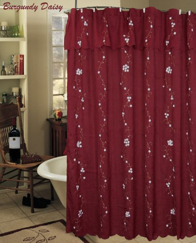 Creative Linens Daisy Embroidered Floral Fabric Shower Curtain With Attached Valance Burgundy Holiday Best