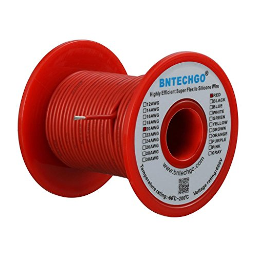 BNTECHGO 20 Gauge Silicone Wire Spool Red 50 feet Ultra Flexible High Temp 200 deg C 600V 20 AWG Silicone Rubber Wire 100 Strands of Tinned Copper Wire Stranded Wire for Model Battery Low Impedance ()