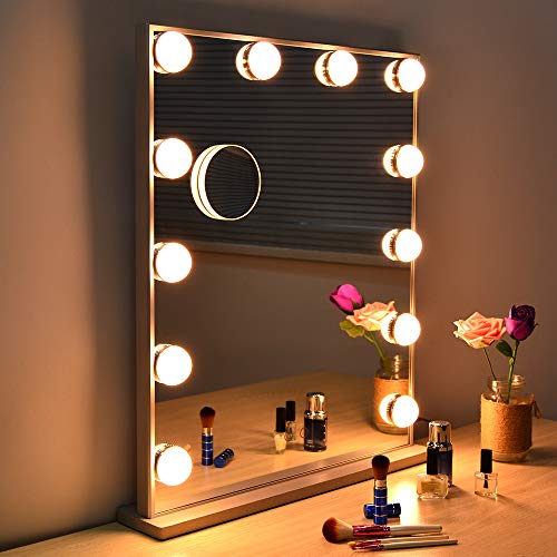 WONSTART Hollywood Makeup Vanity Mirror with Lights Kit, Lighted Makeup Dressing Table Vanity Set Mirrors with Dimmer, Tabletop or Wall Mounted Vanity, LED Bulbs Included (Vanity Mirror Wall Mount)