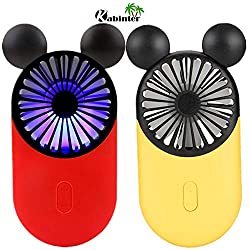 Kbinter Cute Personal Mini Fan, Handheld & Portable USB Rechargeable Fan with Beautiful LED Light, 3 Adjustable Speeds, Portable Holder, for Indoor Outdoor Activities, Cute Mouse 2 Pack (Red+Yellow)