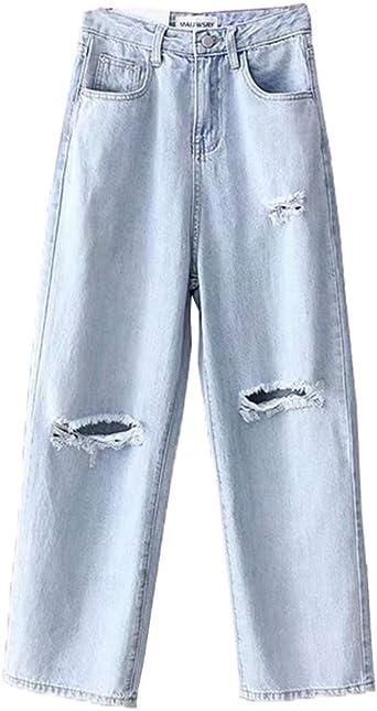 NestYu Mens Holes Vintage Wash Capri Pant Straight Leg Relaxed-Fit Jean