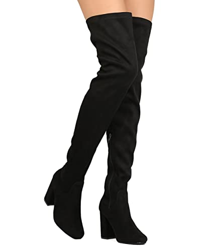 Women's Thigh High Boots Stretchy Side Zipper Over The Knee Chunky Block Stiletto Heel Boots