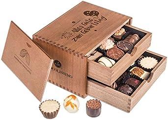 Chocolaterie - Geburtstag - 20 exclusivos Surtido de Pralinés | bombones Praliné | regalo en caja de madera | sabores | Chocolate | Cumpleaños | Mujer | Hombre | Amiga | Padre | Madre | Dulces