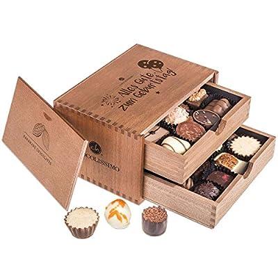 Chocolaterie – Geburtstag – 20 Luxus Pralinen | in einem Holzkästchen | Alles Gute zum Geburtstag Schokolade…