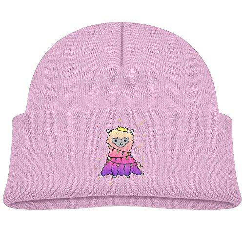 Festive Llama Led Christmas Unisex Kids Beanie Caps Pink