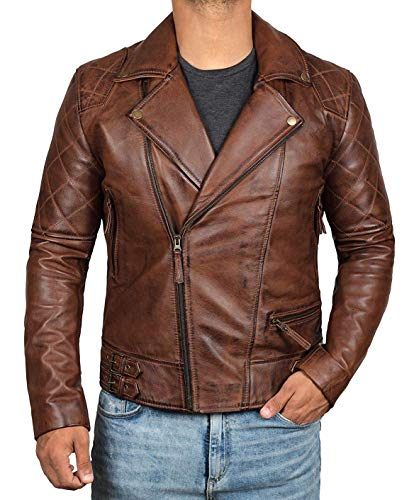- Mens Quilted Leather Jacket for Riders | [1100132] Frisco Brown, S