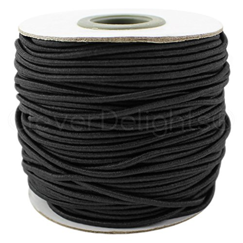 CleverDelights Black Fabric Elastic Cord - 10 Yards - 2mm - Crafts Beading Jewelry Stretch Shock Cording