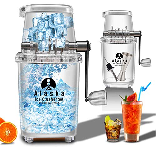 ALASKA Easy-Grip Manual Ice Crusher Set for Home Kitchen/Bar, Includes Pourer and Jigger, by ROMI MARKETING