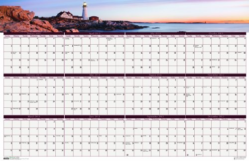House of Doolittle Earthscapes Coastlines Laminated Write-on/Wipe-off Wall Planner, January 2013 to December 2013, 24x37 Inch, Recycled (HOD3968) (Earthscapes Laminated Planner)