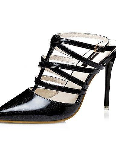 LFNLYX Zapatos de mujer-Tacón Stiletto-Tacones / Talón Descubierto / Puntiagudos / Punta Cerrada-Sandalias-Vestido-Semicuero-Negro / Rosa / Pink