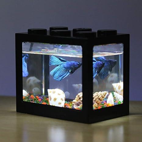 Ocamo - Kit de Acuario LED con pecera Ligera para decoración de ...