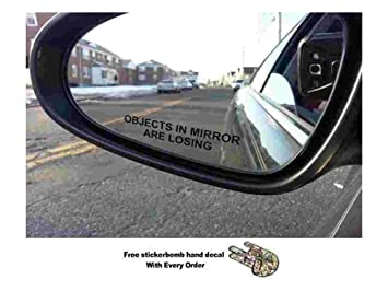 pair objects in mirror are losing decal black etched glass funny sticker package