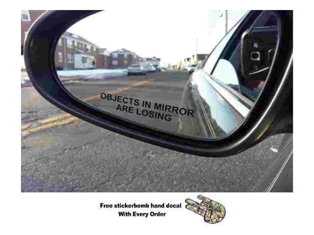 (Pair) Objects in Mirror are Losing Decal BLACK Etched Glass Funny Sticker (package come With hand decal) stickerciti Brand BERRYZILLA