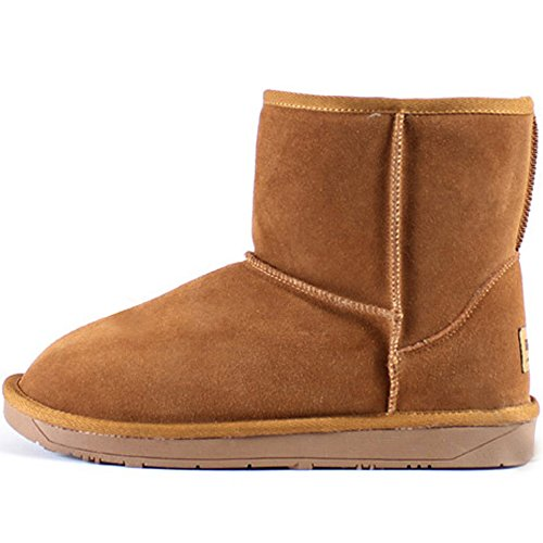 New Mooda Snow Winter Warm Donna Casual In Pelle Stivali Corti Scarpe Cammello