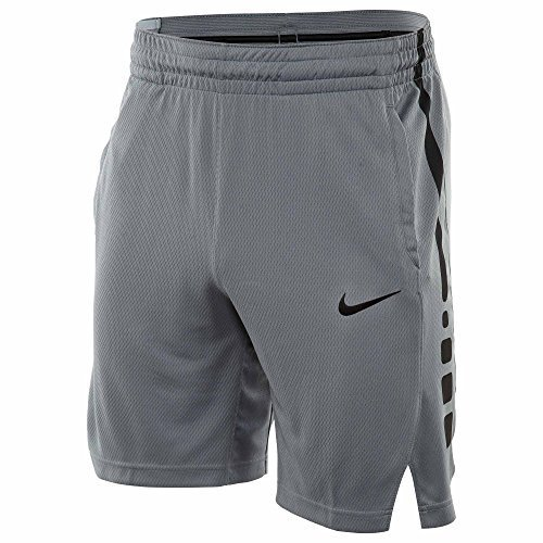 NIKE Mens Elite Stripe Basketball Shorts Cool Grey/Black 831390-065 Size (Nike Gym Shorts)